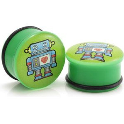 2x Acrylic Green Robot Picture Plugs