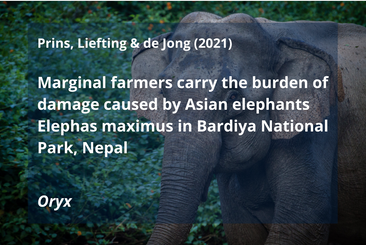 Prins, H. H., Y. Liefting, and J. F. de Jong. 2021. Marginal farmers carry the burden of damage caused by Asian elephants Elephas maximus in Bardiya National Park, Nepal. Oryx:1-9.