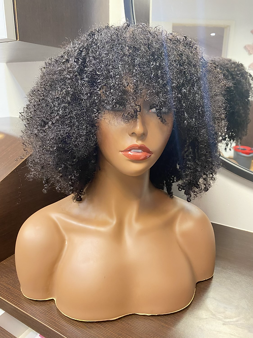 Natural Black Kinky Curly Bang Wig 100% Human Hair
