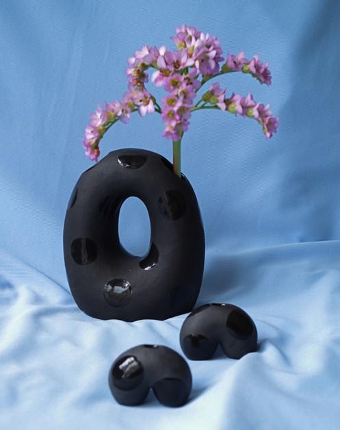 Black Polkadot Blob Vase Mini