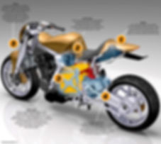 Caf-E Hybrid motorcycle - parallel twin engine and Prius battery pack