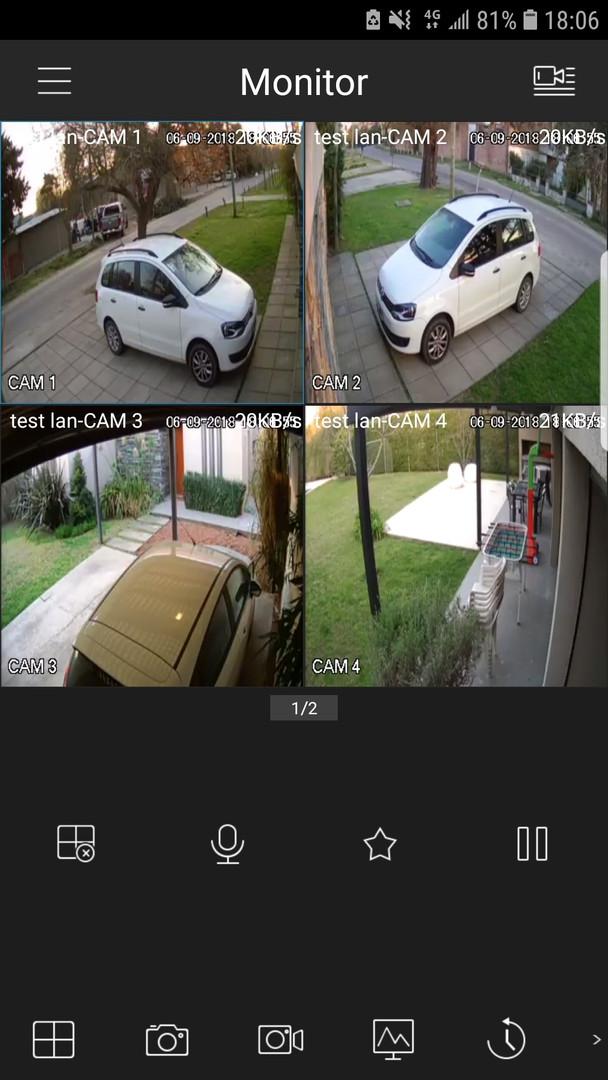 Screenshot desde un dispositivo android utilizando la app oficial para equipos Dahua, Gdmss Lite