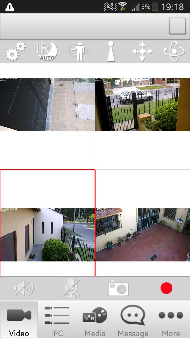Screenshot desde un dispositivo android utilizando la app oficial para equipos Foscam, Foscam Viewer