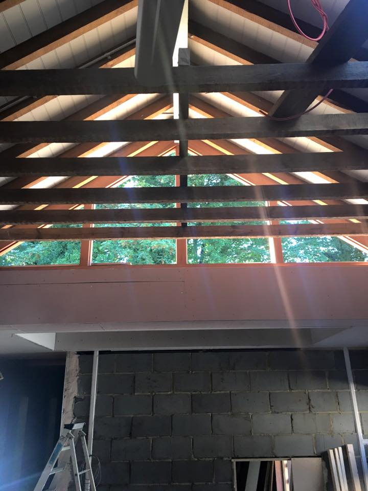 Glass atrium and exposed beams