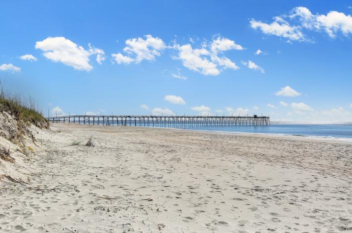 Oak Island beach and pier