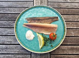 Geräuchertes Forellenfilet, geräucherter Bio-Fisch