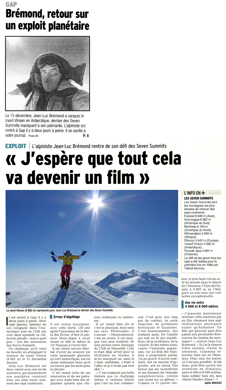 Article Dauphiné Libéré fin 7 summits 03.02.15b