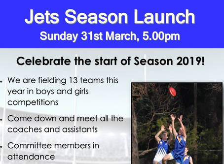Jets Season Launch - Sunday 31st March