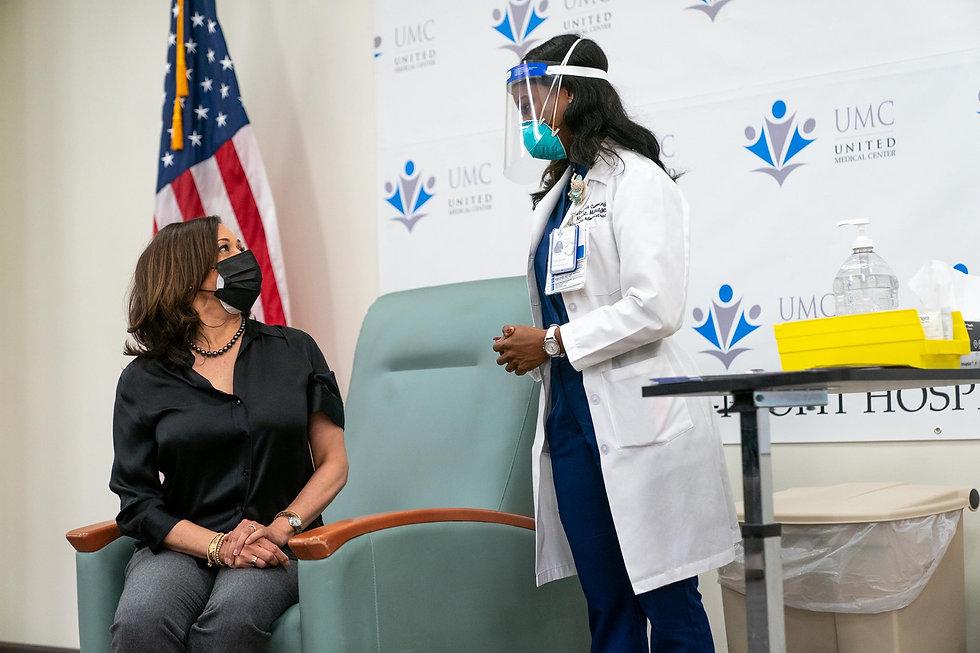 Nurse Patricia Administering Vaccine to Vice President Elect Kamala Harris