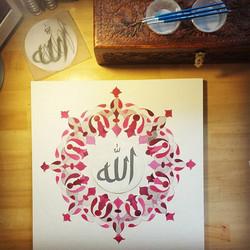 Allah💜 #islimi#islamicpattern #islamicart#allah##calligraphy#gouache#paint#art#myartwork#artcollect