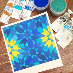 So the #chefchaouen effect seeped into my painting. _I used #gouache from #winsorandnewton and #tale