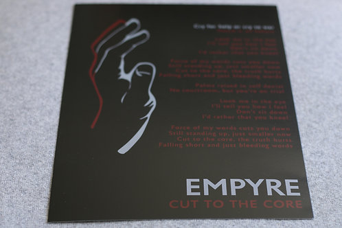 'Cut To The Core' Lyric Sheet (A4)