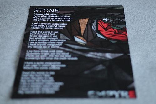 'Stone' Lyric Sheet (A4)
