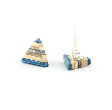 Triangle Azure Blue Stud Earrings