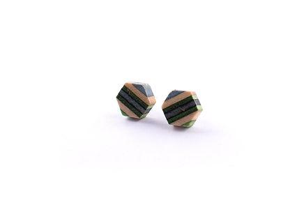 Hexagon Blue Stud Earrings