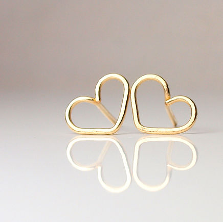 Medium heart stud earrings available in 3 materials: silver, gold, rose gold