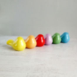 Rainbow Colors Birds Figurines