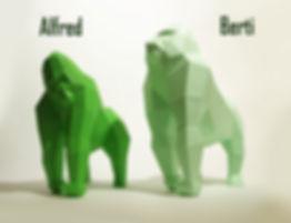 Gorilla DIY sculpture / Papierskulptur Gorilla, Paperwolf DIY Bastelbogen
