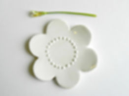 White Flower Ceramic Jewelry dish, Small Ring Dish