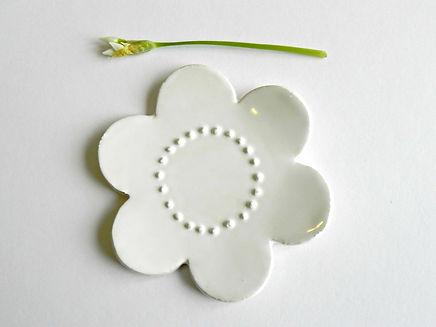 White Flower Ceramic Jewelry dish, Small Ring Dish