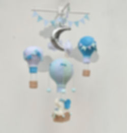 Baby mobile, elephant in the blue balloon