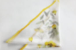 Small silk scarf with hand painted yellow flowers