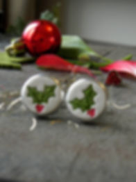 Holly Tree Ceramic Cuff Links