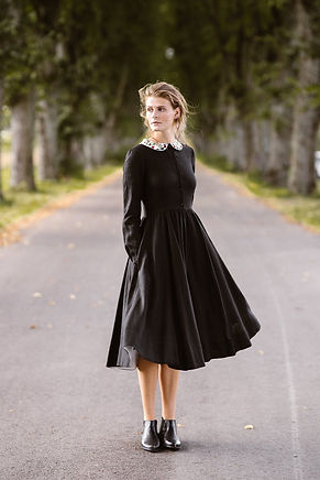 Classic Dress with Embroidered Garden Peter Pan Collar, Long Sleeves