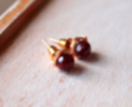 Ruby faceted stud earrings, 6mm, wirewrap rose gold filled