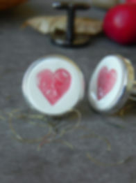 Red hearts Ceramic Cuff Links