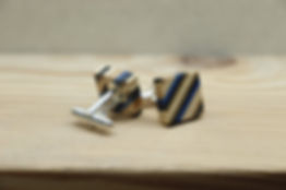 Wooden Square Cufflinks, Black and Blue