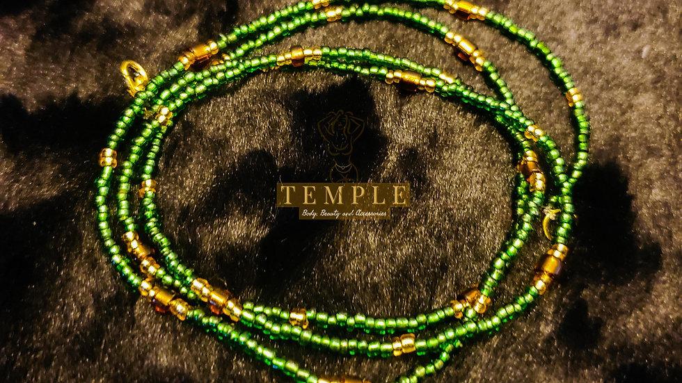Green Gold Goddess Waist Bead
