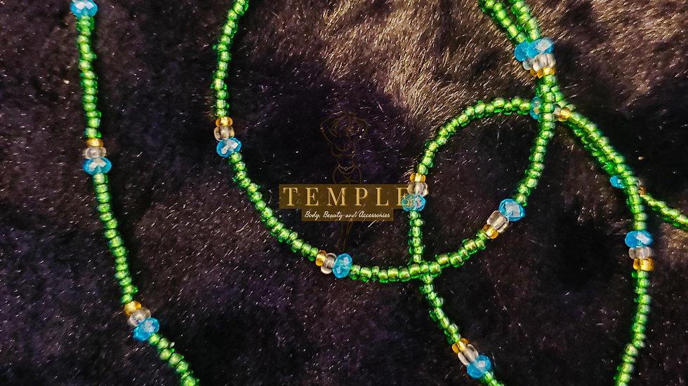 Emerald Gold Accent Goddess Waist Bead
