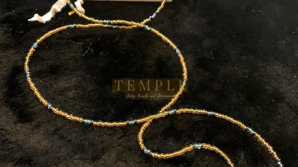 Blue Gold Goddess Waist Bead