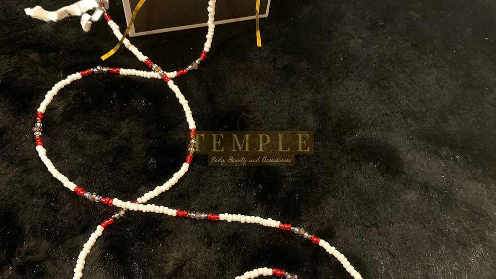 Red & White Goddess Waist Bead