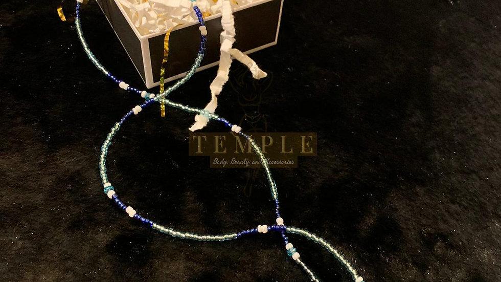 Tri-Color Blue Goddess Waist Bead