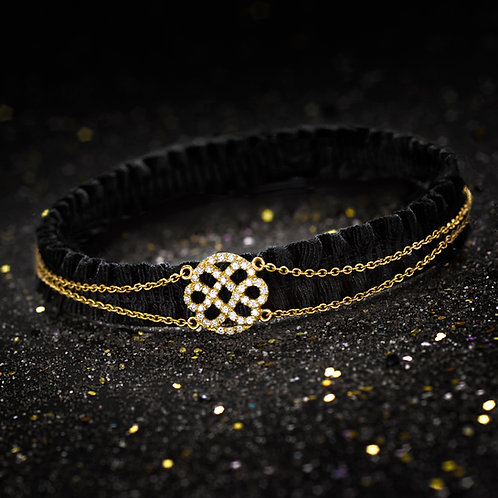 BRACELET LOVE FLOWER INFINIE - OR JAUNE - 44 DIAMANTS