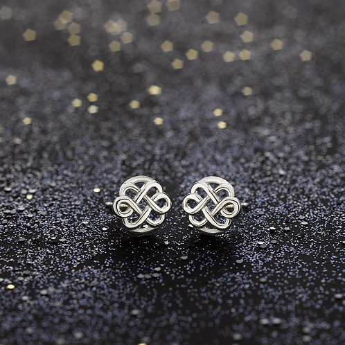 BOUCLES D'OREILLES LOVE FLOWER INFINIE - OR BLANC