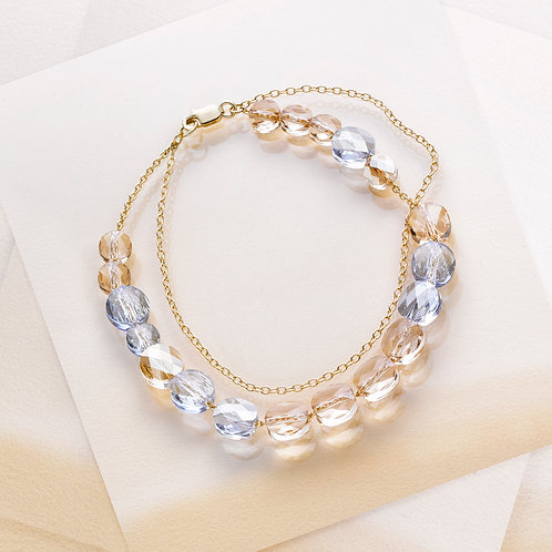 BRACELET LIGHT SILK & BLUE - CRISTAL - OR JAUNE
