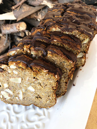Banana-carrot bread with choc-peanut icing