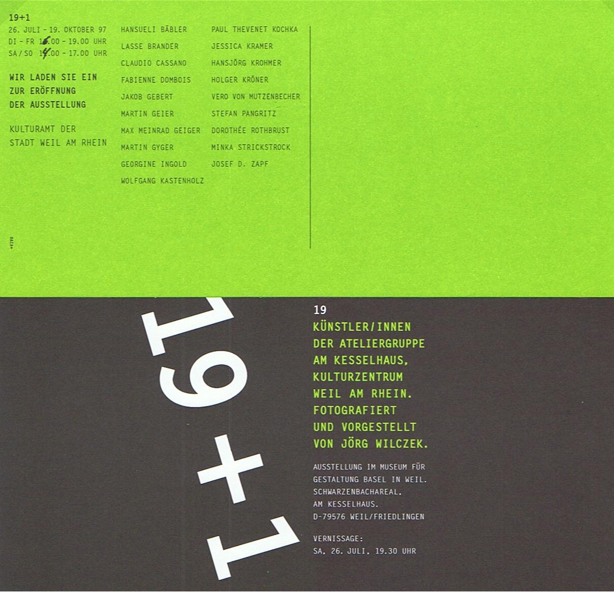 Ausstellung 19+1 im Kesselhaus, Weil am Rhein (D)