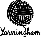 the Yarningham logo of a ball of wool that has a thread that spells the word yarninngham