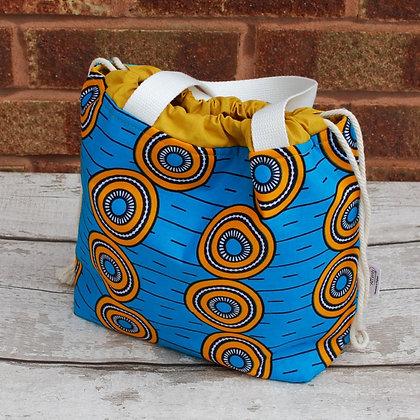 Farai Wax Print Teal small project bag