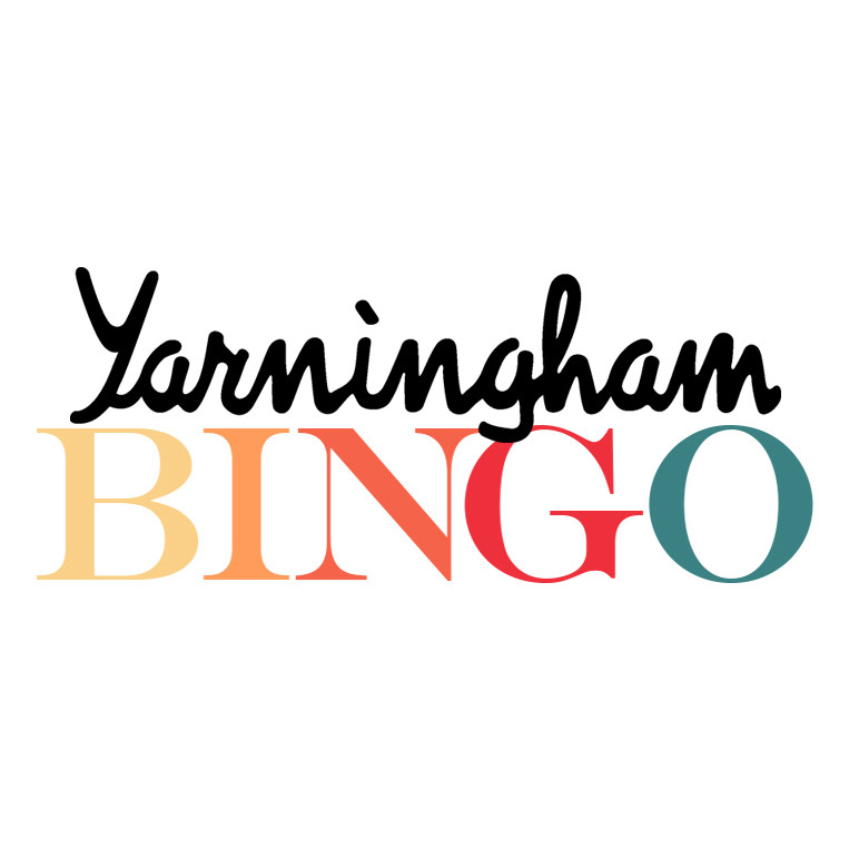 The words Yarningham in black handwritten text and the word bingo in multi coloured text on a white background