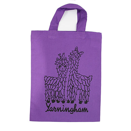 Purple mini tote bag with short handles with Boris & Donald design in black print on front