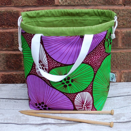 Farai Wax Print Circles large project bag