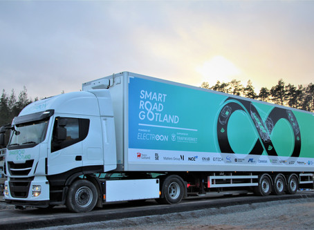 Electric truck ready for dynamic wireless charging on public roads in Sweden