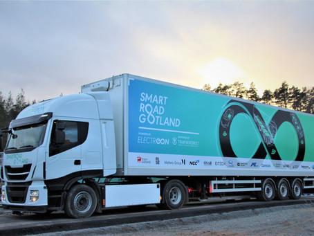 Electric truck ready for dynamic wireless charging on public roads in Sweden