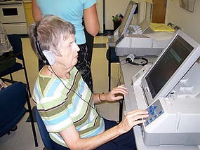 Voter using automark system