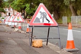 roadworks signs on a street in London, U